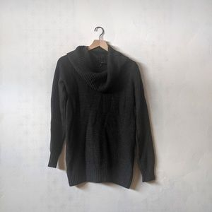 The Limited M Cowl Neck Dark Grey Knit Sweater